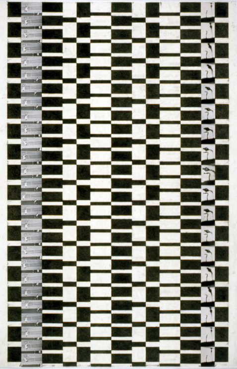 """Tread #16,"" 1996; Graphite Rubbing/Collage on Paper; 40""X26"""