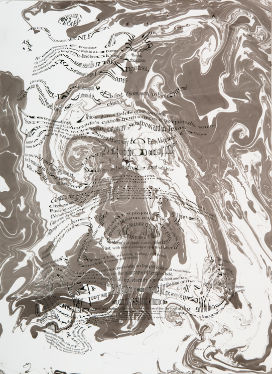 """""""Refraction Code - As Consequent, etc. #1,"""" 2011; Digital Inkjet and Sumi-e Ink on Paper; 16"""" X 22"""""""