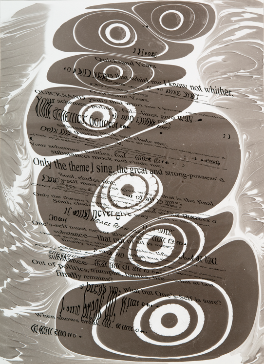 """""""Refraction Code - Quicksand Years #2,"""" 2011; Digital Inkjet and Sumi-e Ink on Paper; 16"""" X 22"""""""