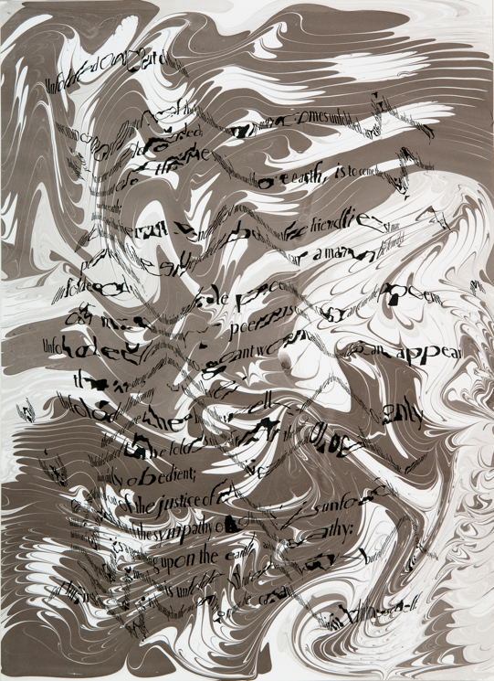 """""""Refraction Code - Unfolded Out of the Folds #1,"""" 2011; Digital Inkjet and Sumi-e Ink on Paper; 16"""" X 22"""""""