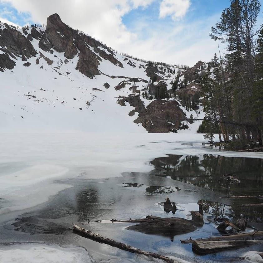 Baker Lake, partially frozen