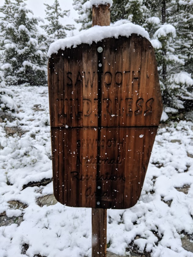 Snow accumulating as we enter the wilderness area