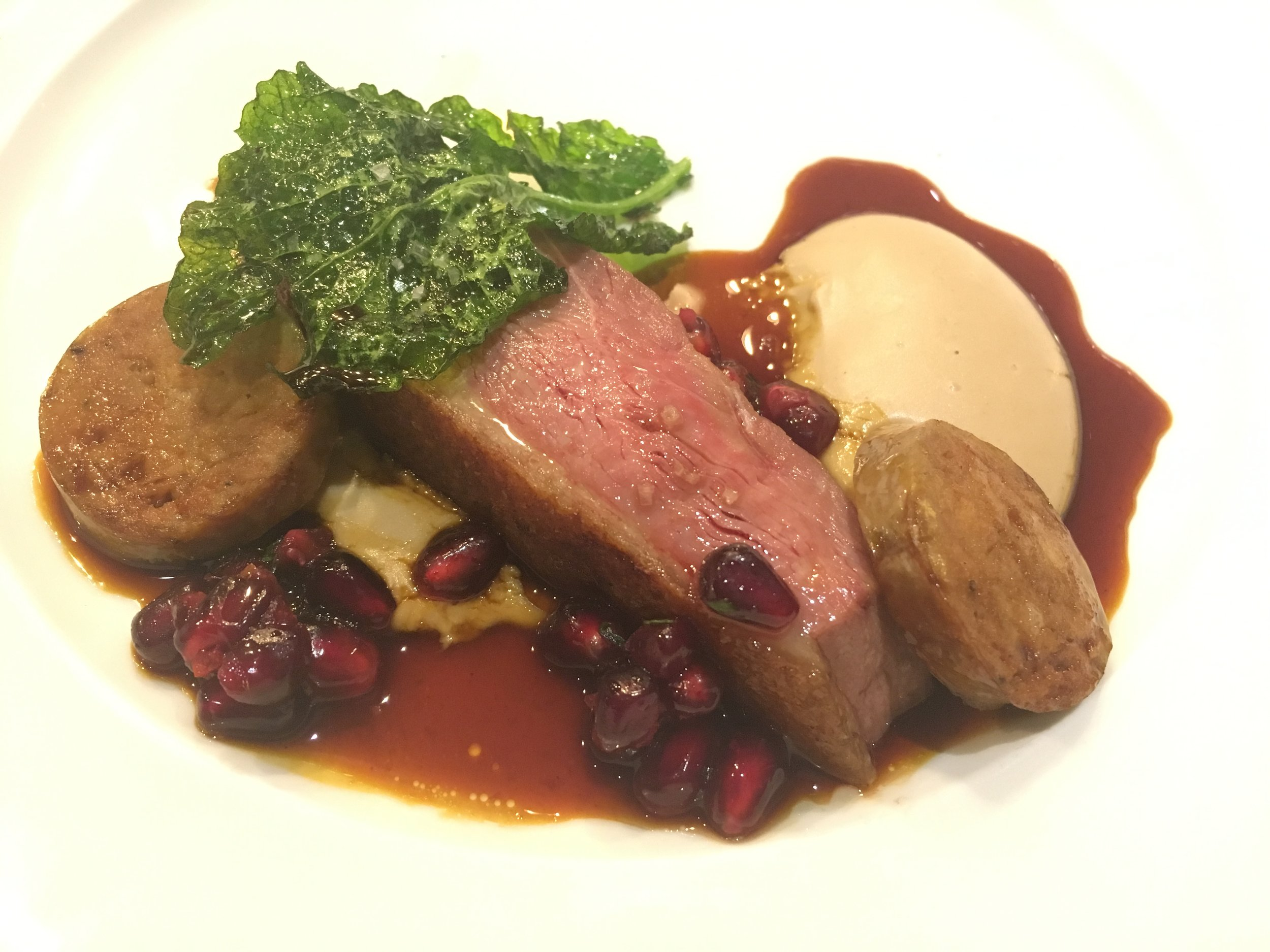 Rohan Duck Breast with pomegranate and chestnut puree