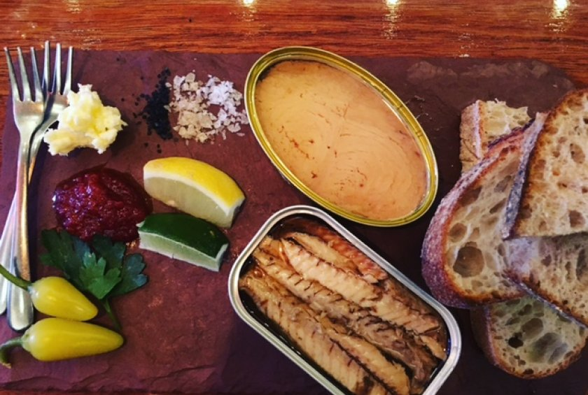 Tinned fish board with all the accoutrements.
