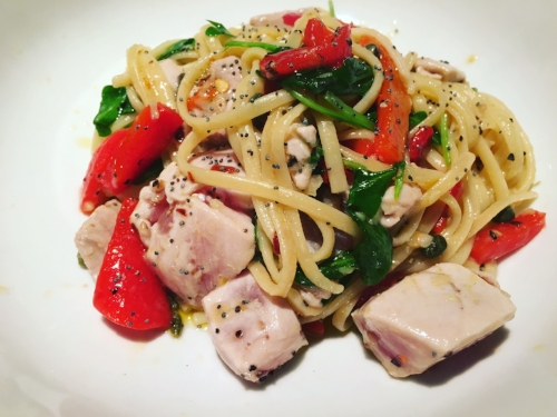 Tuna linguine from nine one five restaurant