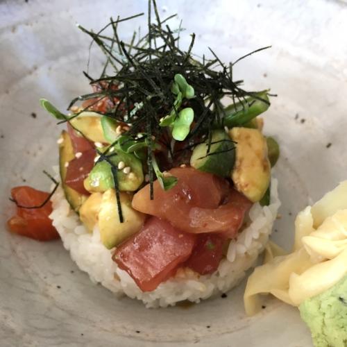 Tuna crudo over rice at Zuma
