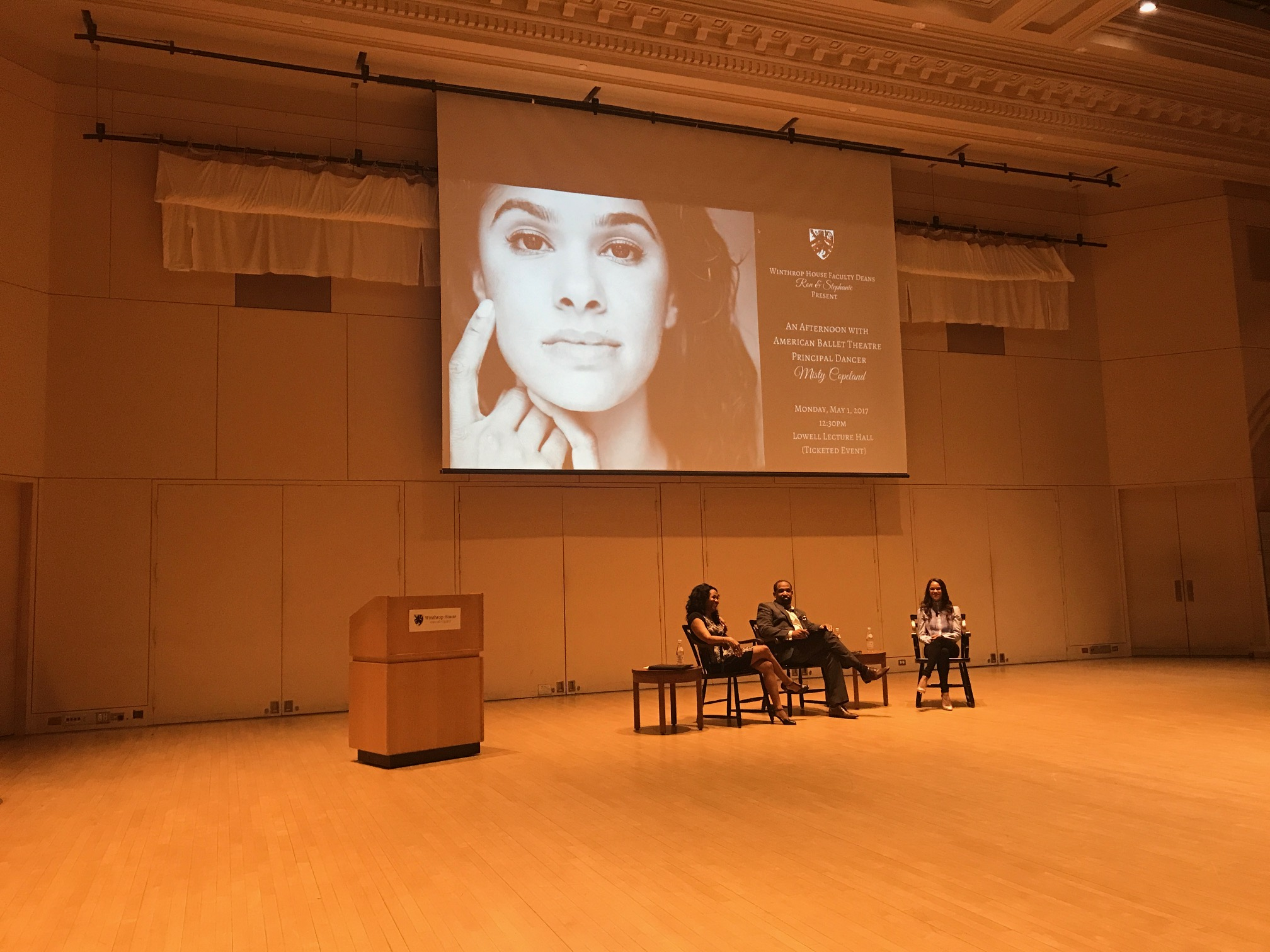 Misty Copeland at the Lowell Lecture Hall, Harvard University