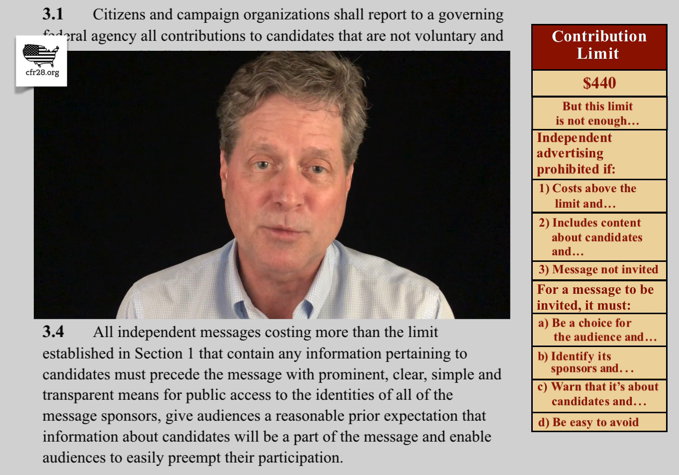 4:35 Second of four videos describes how CFR28 eliminates superPAC advertising