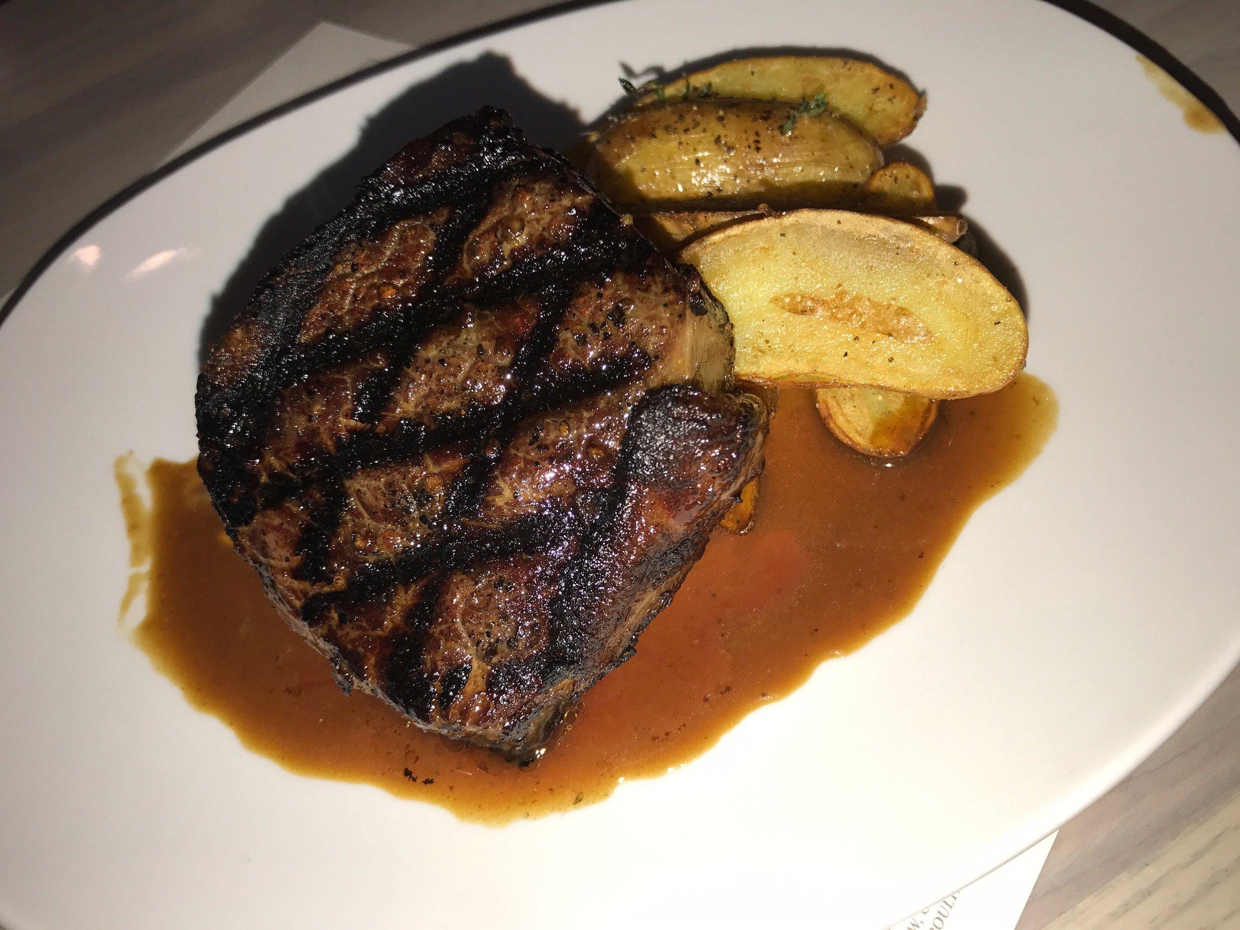 Steak (Molasses Peppercorn, Fingerlings, Onion & Fennel, Bourbon Demi)