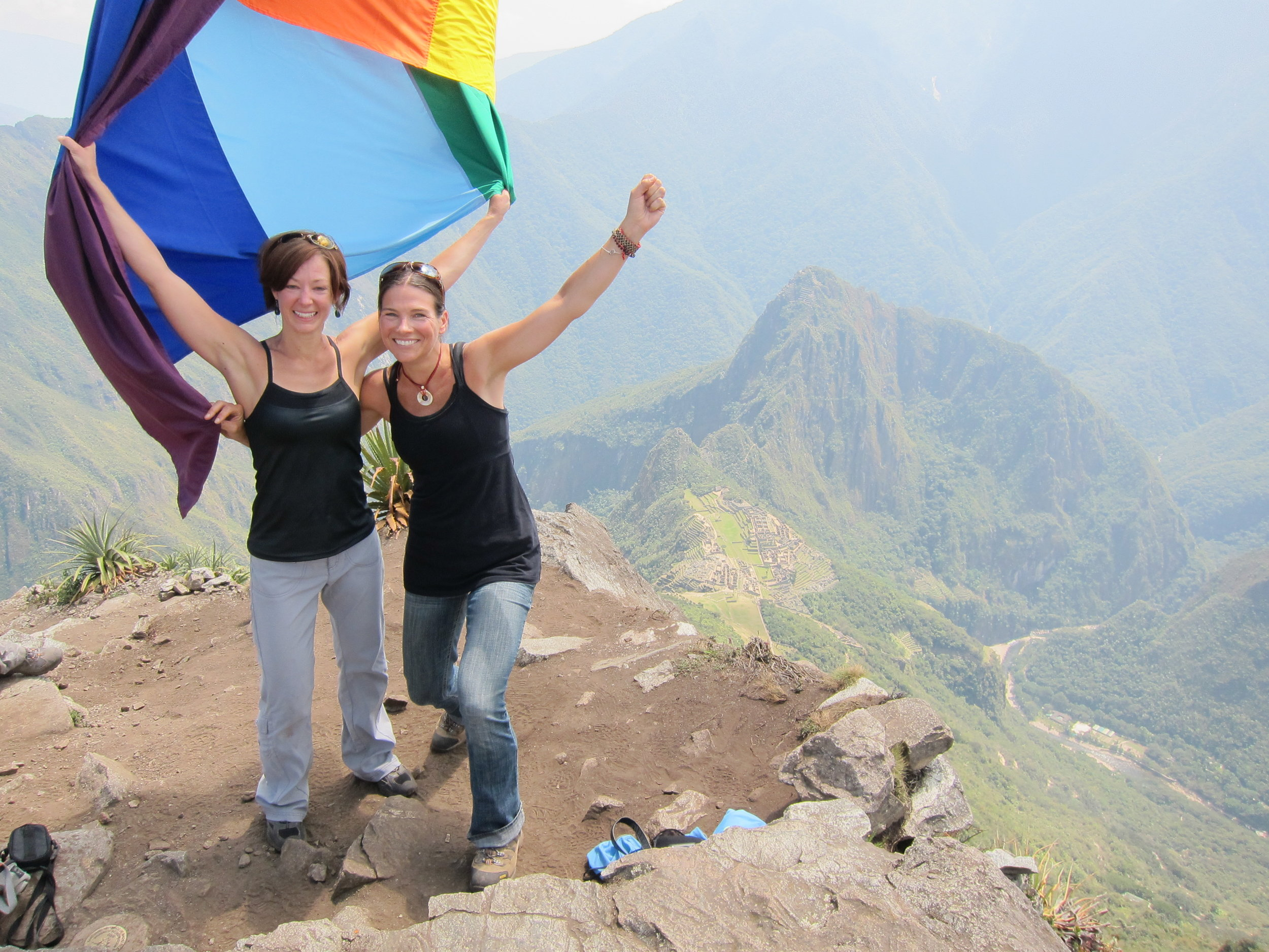 High up in Peru, with one of my adventure besties, celebrating an epic day above Machu Picchu.