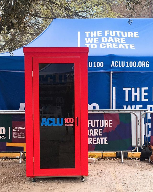 Kicking off the #ACLU100 tour in Austin At SXSW! Our activation allows the public to Skype with an ACLU representative to have open discussions and get their views on pressing topics. With civil liberties on the line, be part of the future we dare to create!  _ _ #ACLU100 #SXSW #ACLU100eExperience #ACLU100Tour #SXSW2019 #BuiltAtFoundersLab #DesignedAtFoundersLab