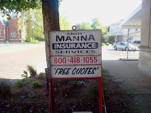 """I wonder if the """"Free Quotes"""" are the actual quotation marks that have been unnecessarily used on this sign. Perhaps """"Andy"""" can tell us, if that is his real name."""