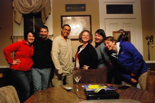 Tabi, James, Marie, and Lori. We're all trying to do an awkward Tara pose. Tara remains the champion
