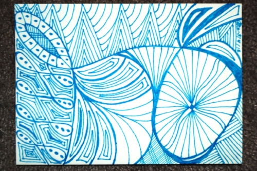 Alta's beautifully hand-made card. She makes wonderful free-form art similar to this.