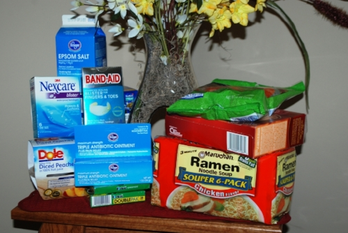 A care pack put together by a nurse. Thanks to Debbie for helping with our ailing feet.