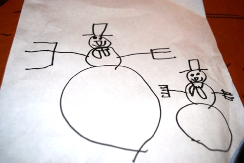Mindy's son, Jack, drew this picture of Tara and him walking across the country as snowmen. Summer's going to be an issue.