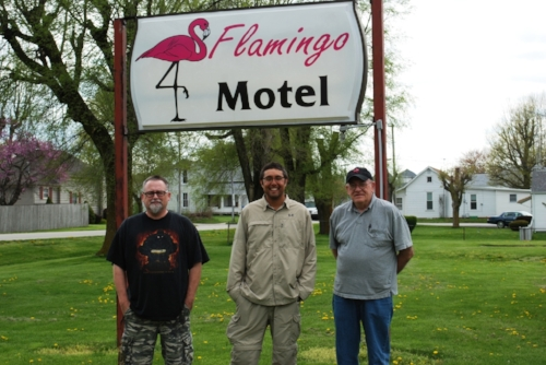 Tim, Lowell, and the world-famous Flamingo Motel.
