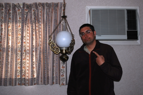 John-Michael kept hitting his shoulder and head on this low-hanging light. Tara was not spared it's punishment either.