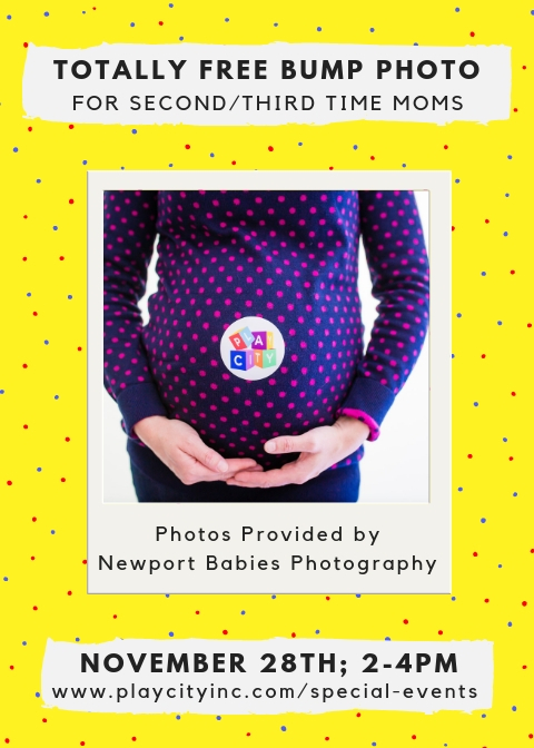 Showing and Glowing - A celebration for second time moms with Newport Babies Photography!There is nothing as gorgeous as the glow of an expectant mom and we want every mom to see the beauty of each pregnancy with joy and hold onto it for always. Sometimes the chance to photograph a second pregnancy is not possible, when mom is already busy looking after a little one or two! While your little one(s) play for free, you will receive a totally free bump photo from Newport Babies Photography. Play City will use photos for sales and marketing efforts.Social worker in training, Medha Kudaisya will be on hand to facilitate a group chat about adjusting to life with your second child, participation is optional. A Mother's Helper will be provided by Newport Babies Photography, to help keep an extra eye on the kids, while they play.
