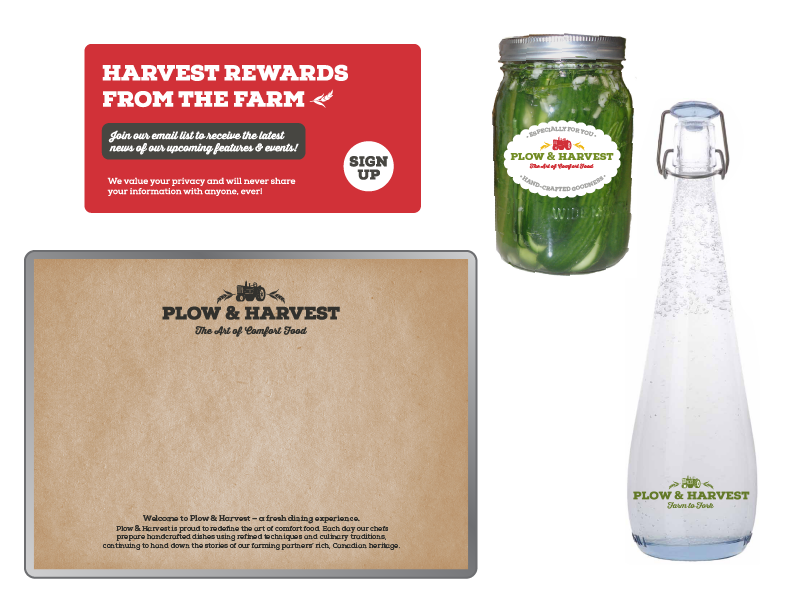 Email Blast, Package Labels, Tray Liners, Water bottles