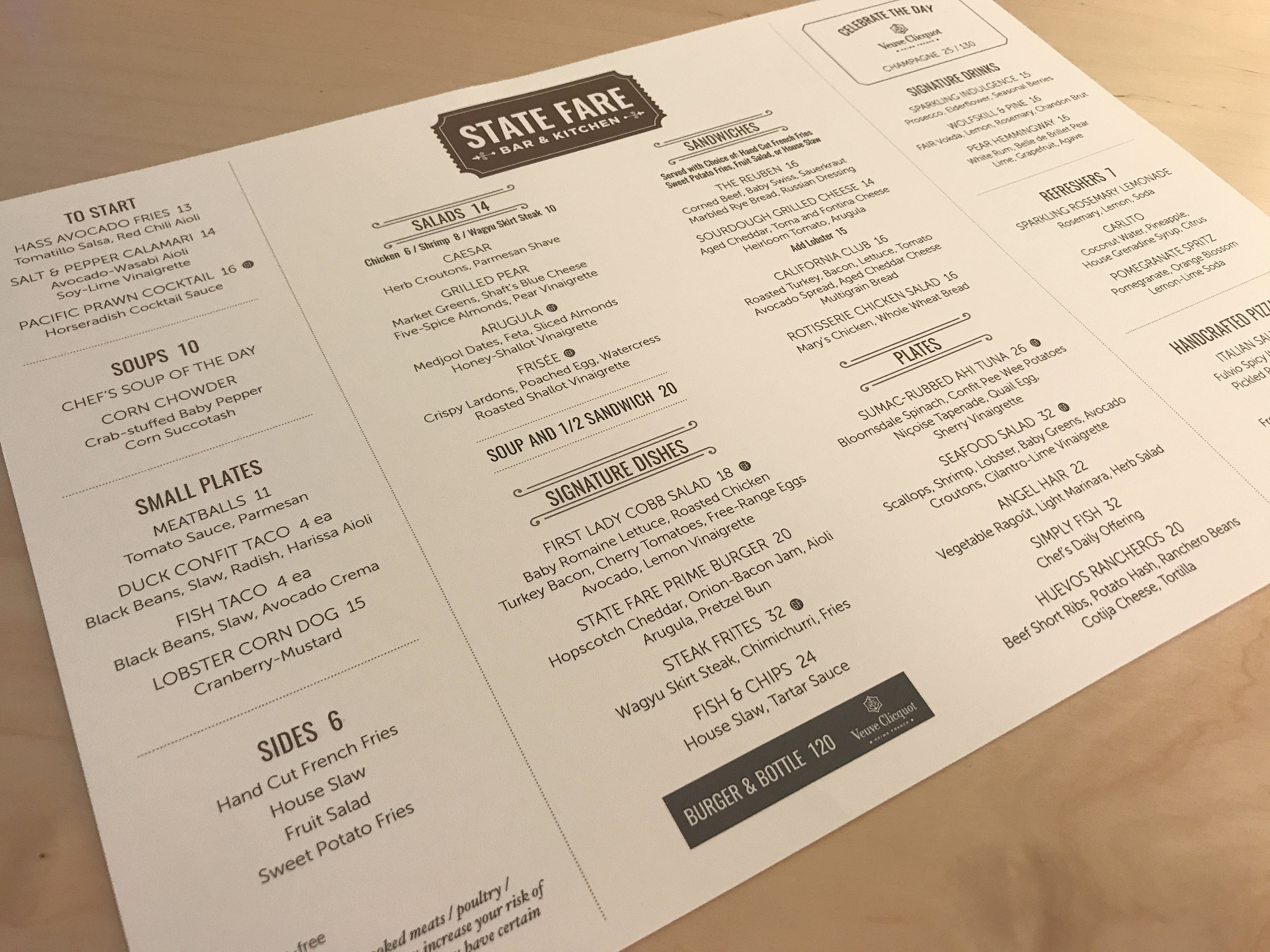 State Fare Lunch Menu {front side}