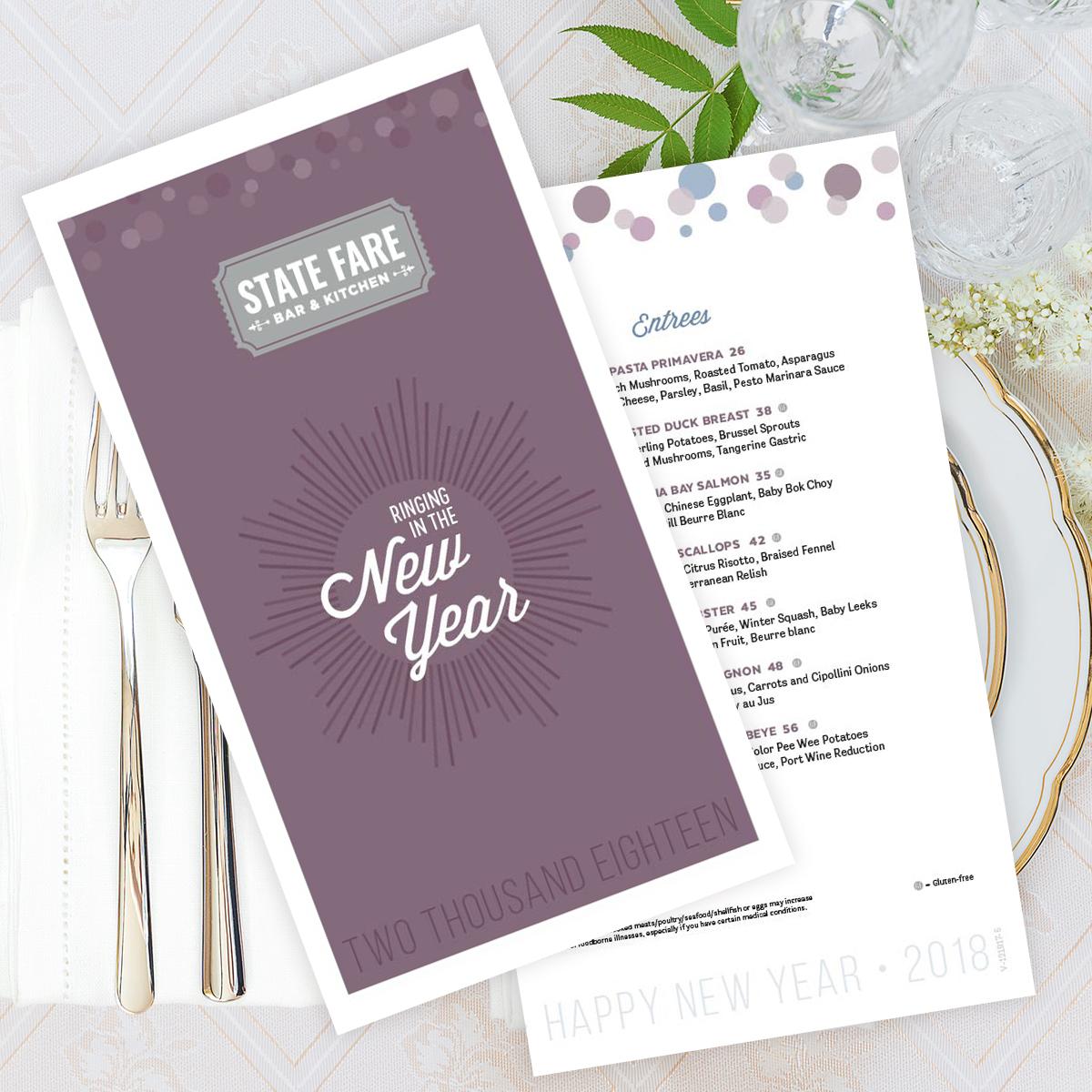 2017 New Year's Eve Menu Design