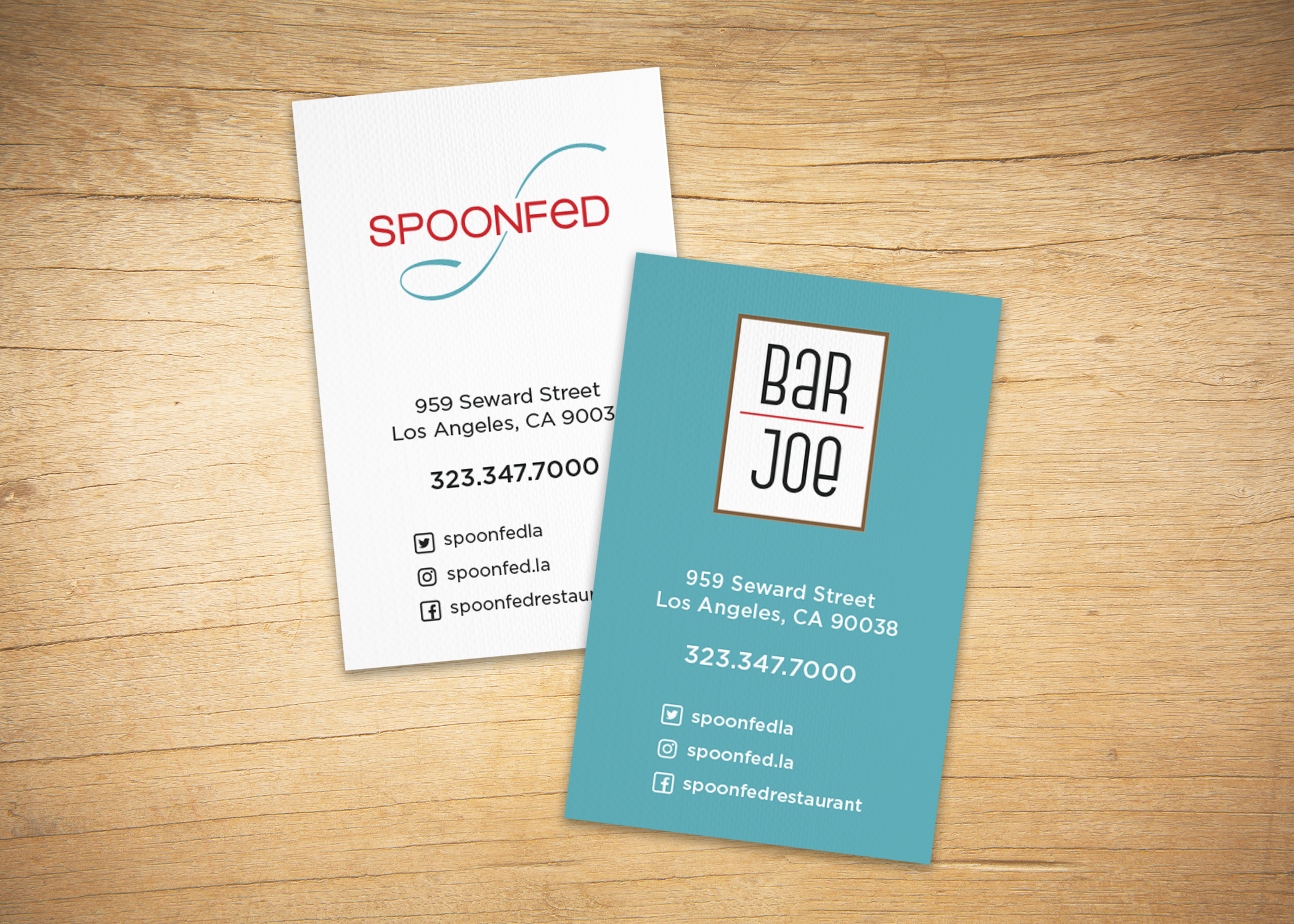 Business card design with the restaurant on one side, bar on the other.