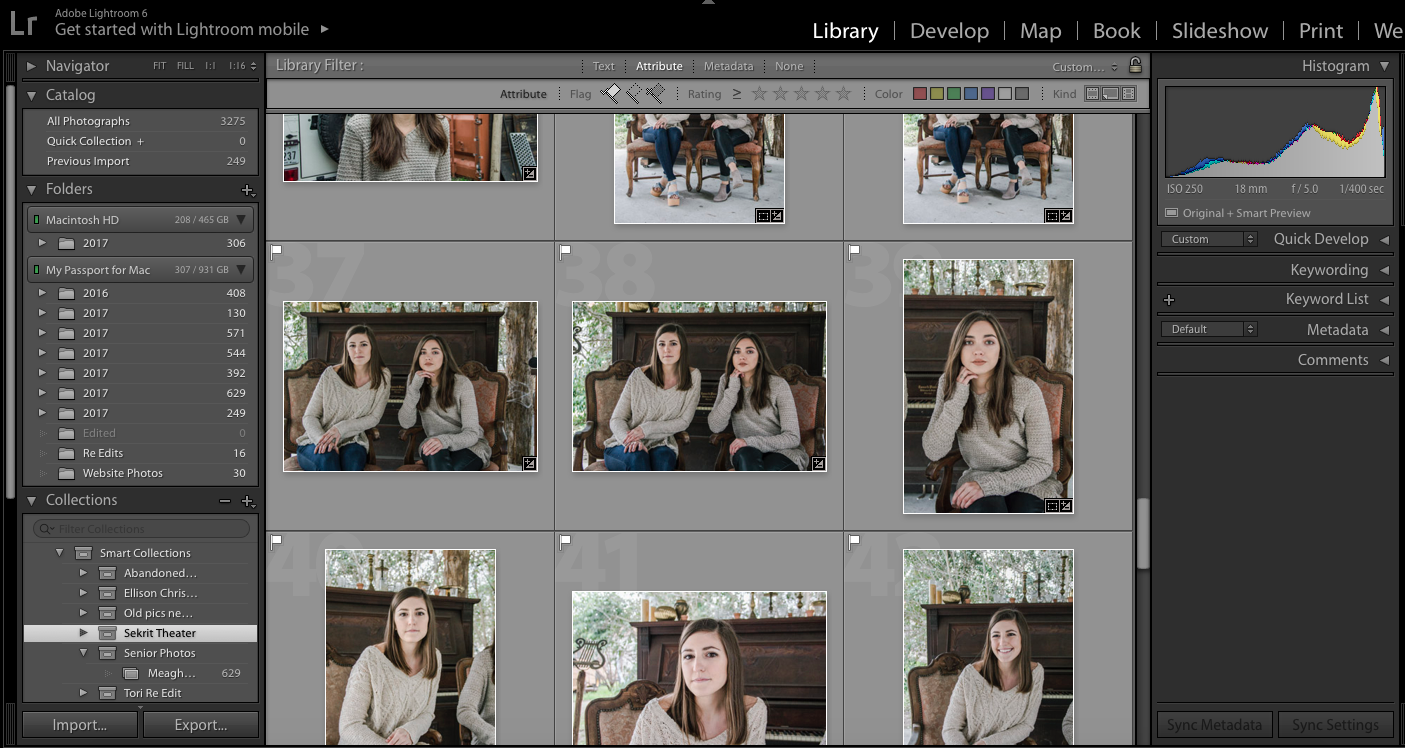 An inside look at my Lightroom.