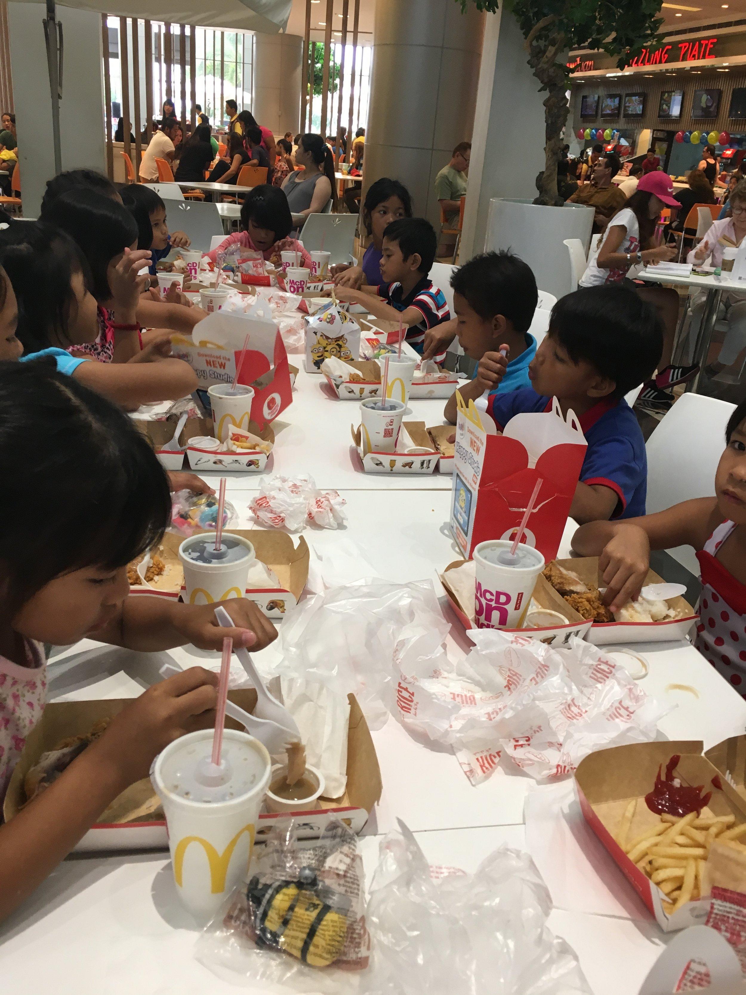 Post church McDonald's trip at the mall.
