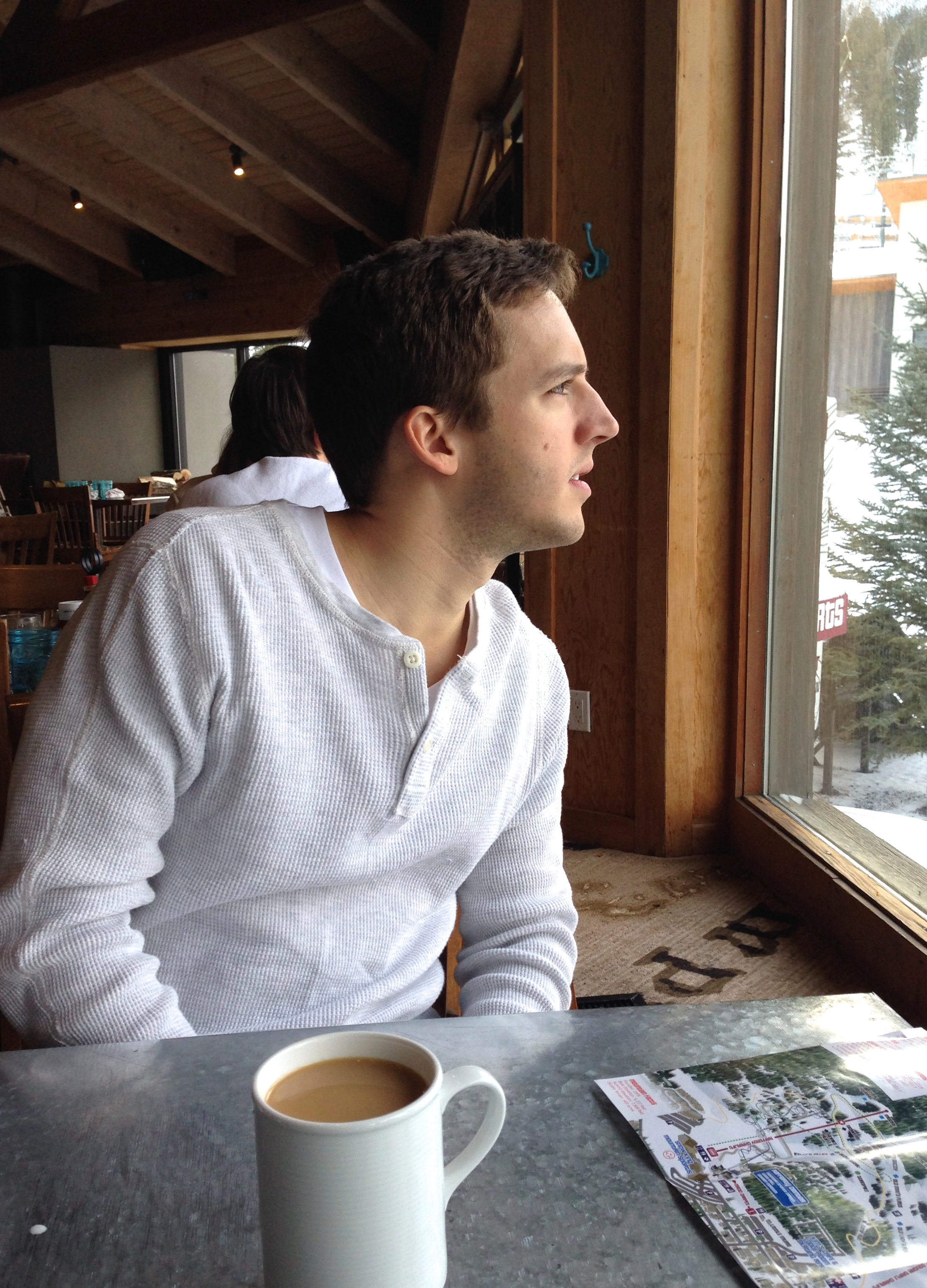 This was Micah both mornings: staring at the slopes, ready for breakfast to be over so he can go ski.