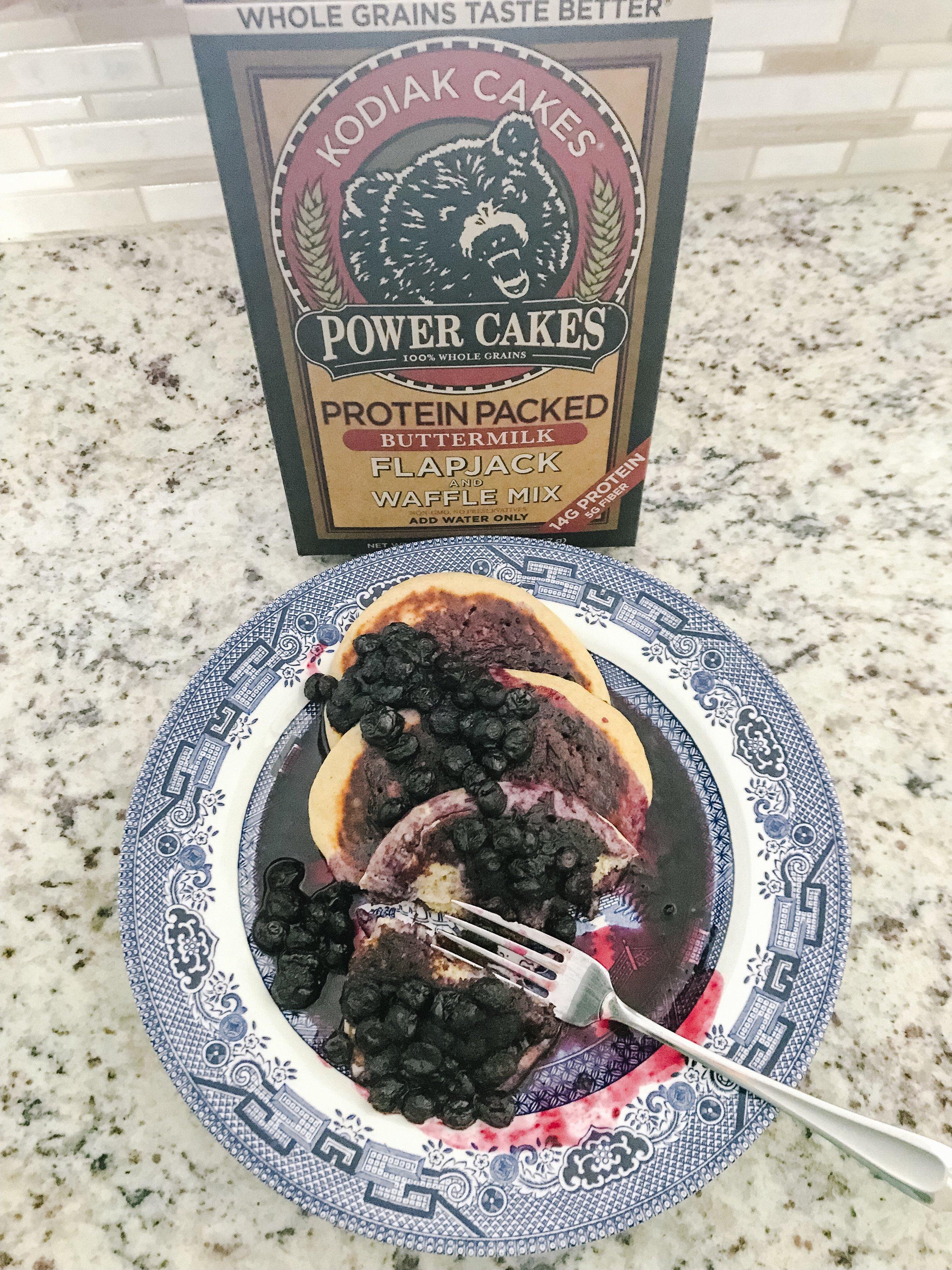 Kodiak Cake Pancakes with Honey Blueberry Syrup
