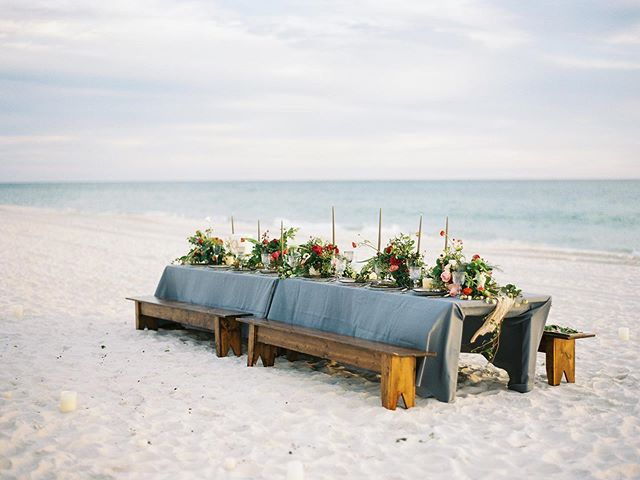 Intimate beachside reception // Santa Rosa Beach, Florida ⠀ ⠀ ⠀ ⠀ ⠀ ⠀ #30aweddings #30a #beachwedding #beachreception #floridawedding #voguebride #bridalvogue #filmphotography #goldenhour #sunsetdinner #weddingreception #floridawedding #destinationido #luxuryweddingphotographer #marthaweddings #weddingphotography #hey30a #eventdesign #weddinginspo #caratsandcake #overthemoon #oncewed #laurenkinseyphotography