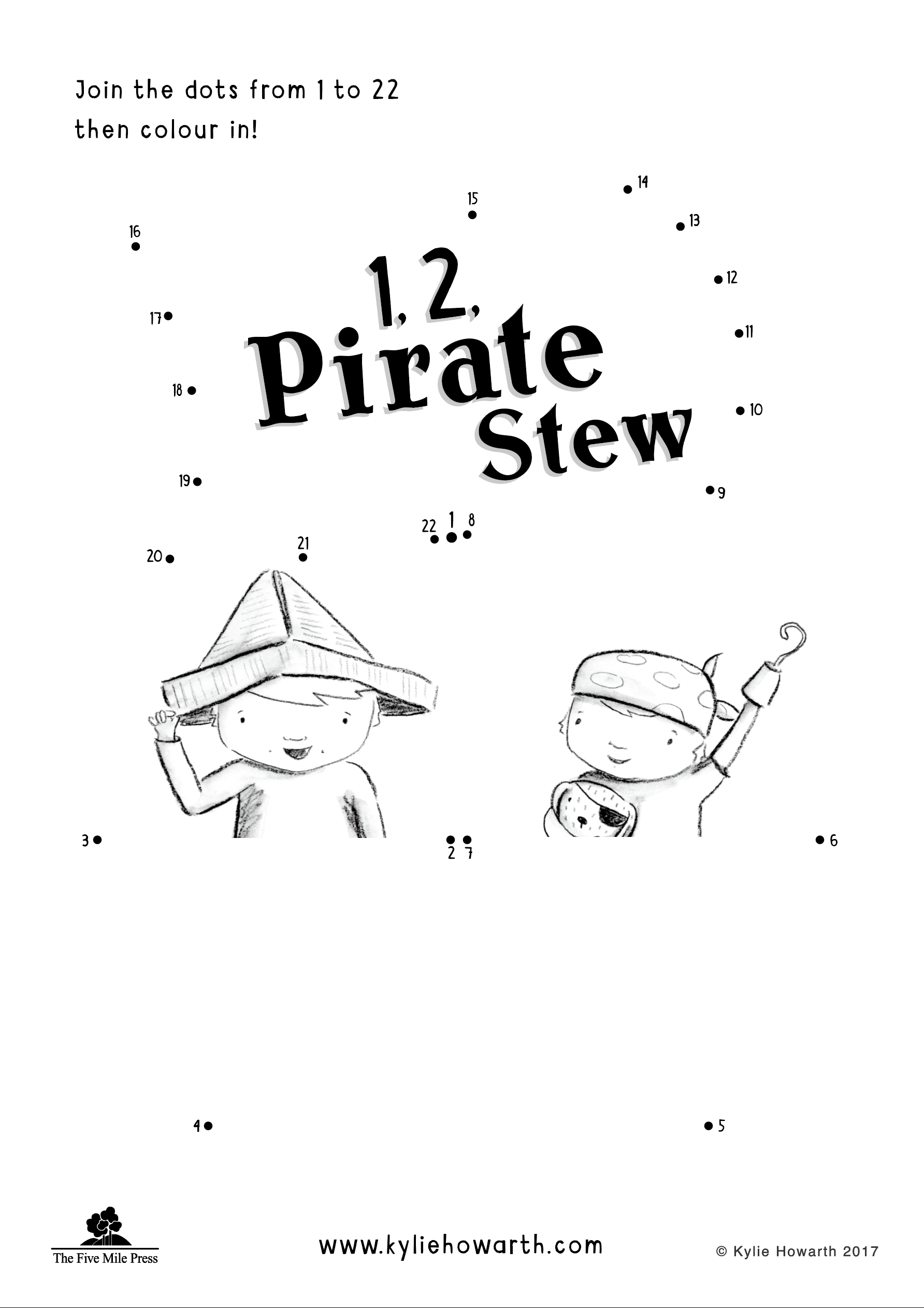 1, 2, Pirate Stew - Dot-to-dot sheet