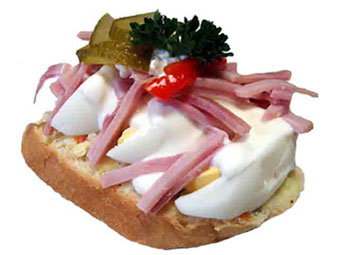 Russian Egg : butter a bread slice, top with potato salad, hard boiled egg, halved or sliced, drizzle with mayonnaise dressing (mayonnaise with little water, whipped with a fork). Top with slices of ham, garnish.