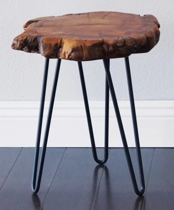 Sari Unique Wood Stump Rustic Surface End Table