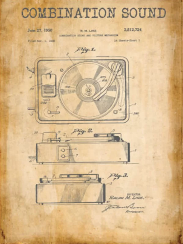 'Combination Sound Patent' Graphic Art on Metal