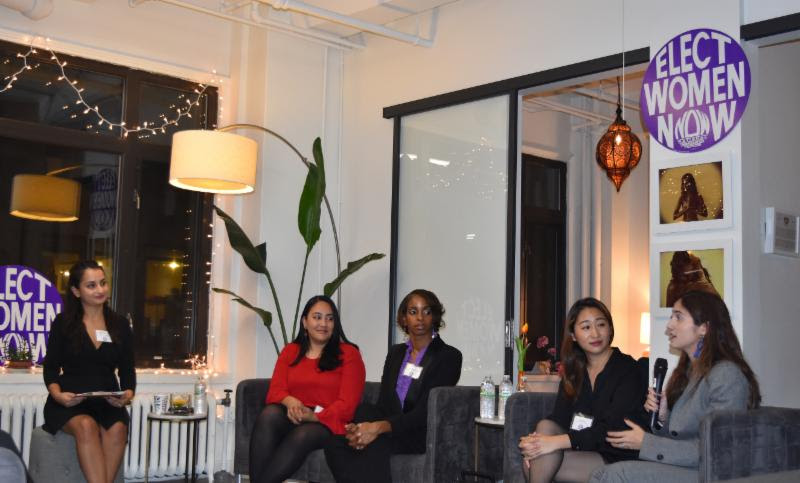 From left to right: Alyssa Cannizzaro (NOW-NYC), and City Council Candidates Amanda Farias, Pia Raymond, Alison Tan, and Marjorie Velázquez
