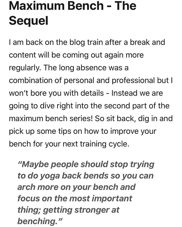 Who's got an article up again? It's been a long time but we are going to be pushing content out regularly this year. I made a blood pact and everything. Head over to the barbell samurai website and give this monster a read if your serous about getting a big bench! Link is in my bio  #article #blog #knowledge #free #read #bench #benchpress #strengthtraining #strong #barbellsamurai