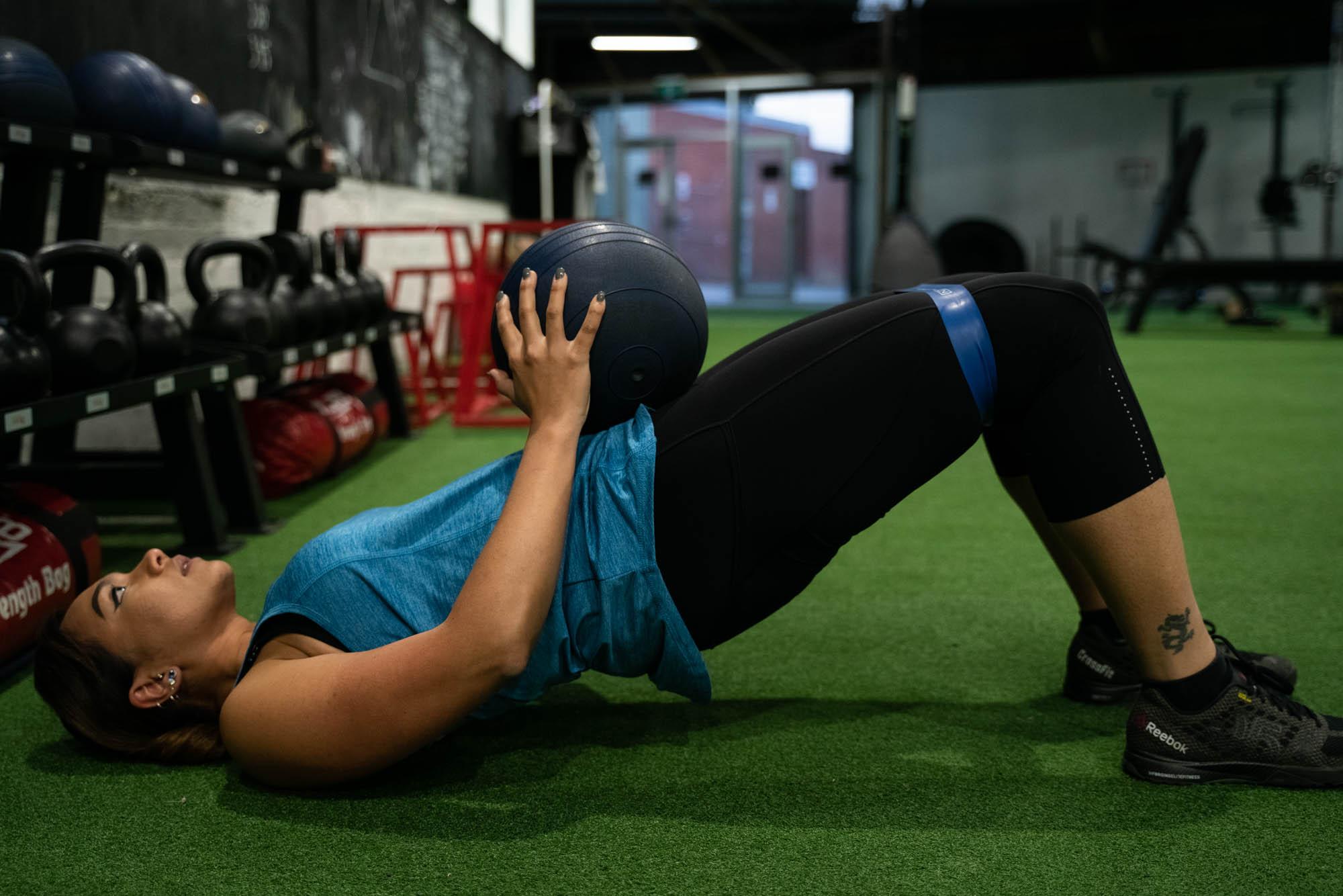 1. Band around knees hip thrust