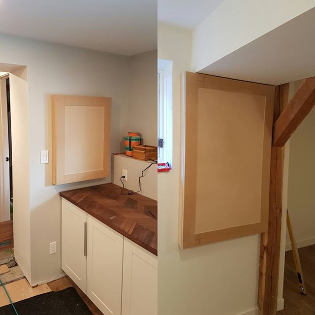 Both electrical panels  are now covered  with ikea style doors , this first picture shows the cabinets we were matching , cant wait to see these with paint on them #yyc #woodworking #cabinets #carpentry #carpenter #wood #ikea #canmore #remodle #reno #renovation