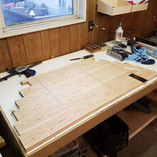 The table top is coming together, now that this half is figured out the next half should be easy #carpentry #carpentry #cozycarpentry #yyc #woodworking #funiture #furniturerehab #redoak