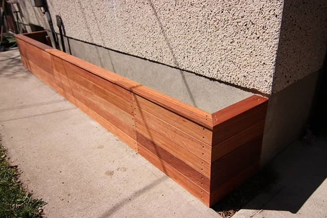 Heres a planter box we made  using red balau batu hard wood from @kayucanada , can't wait to us this product on more projects.  #yyc #carpentry #garden #planter #woodworking #cozycarpentry