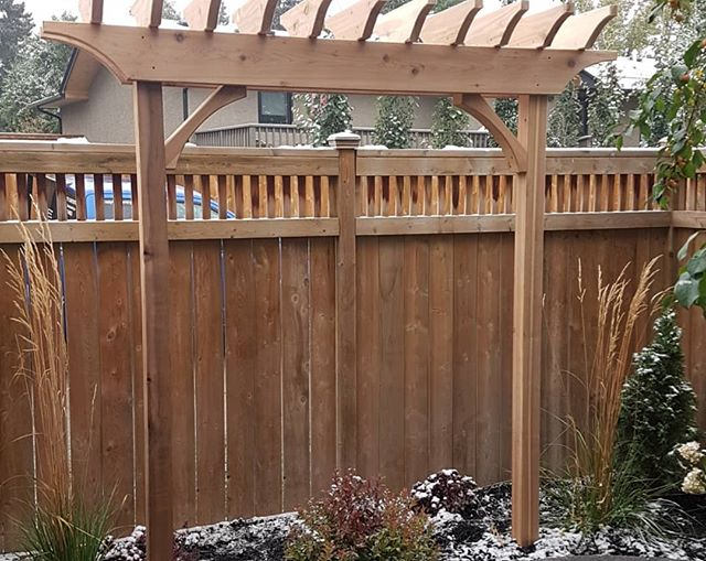 Were happy to get this little project done as the snow starts to fall. #carpentry #cozycarpentry #yyc #pergola #cedar