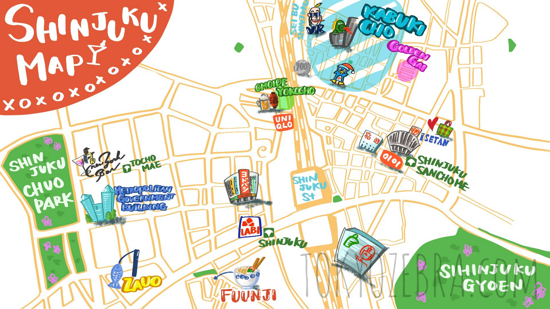 Shinjuku Destination Map