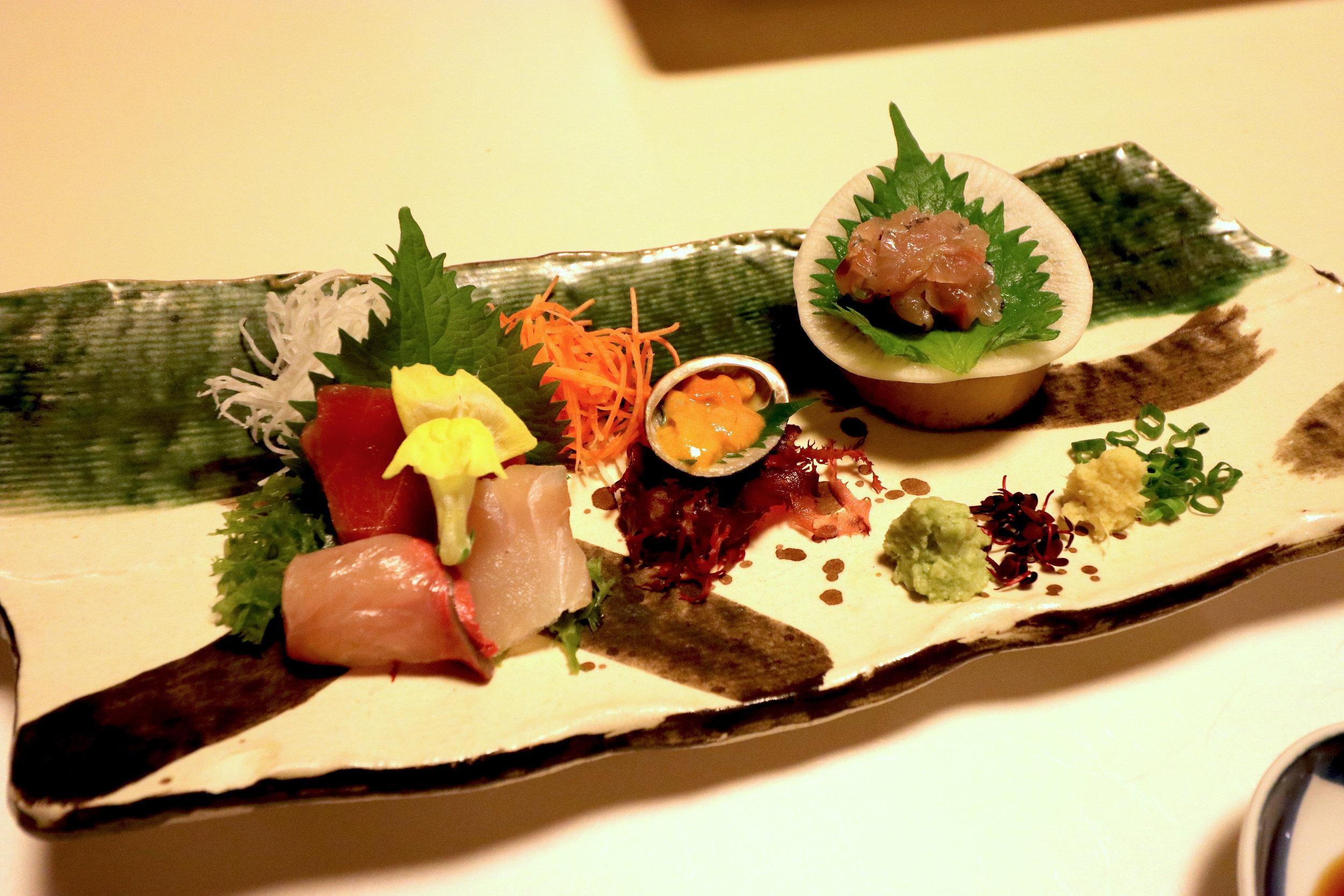 luxury onsen trip from Tokyo sashimi