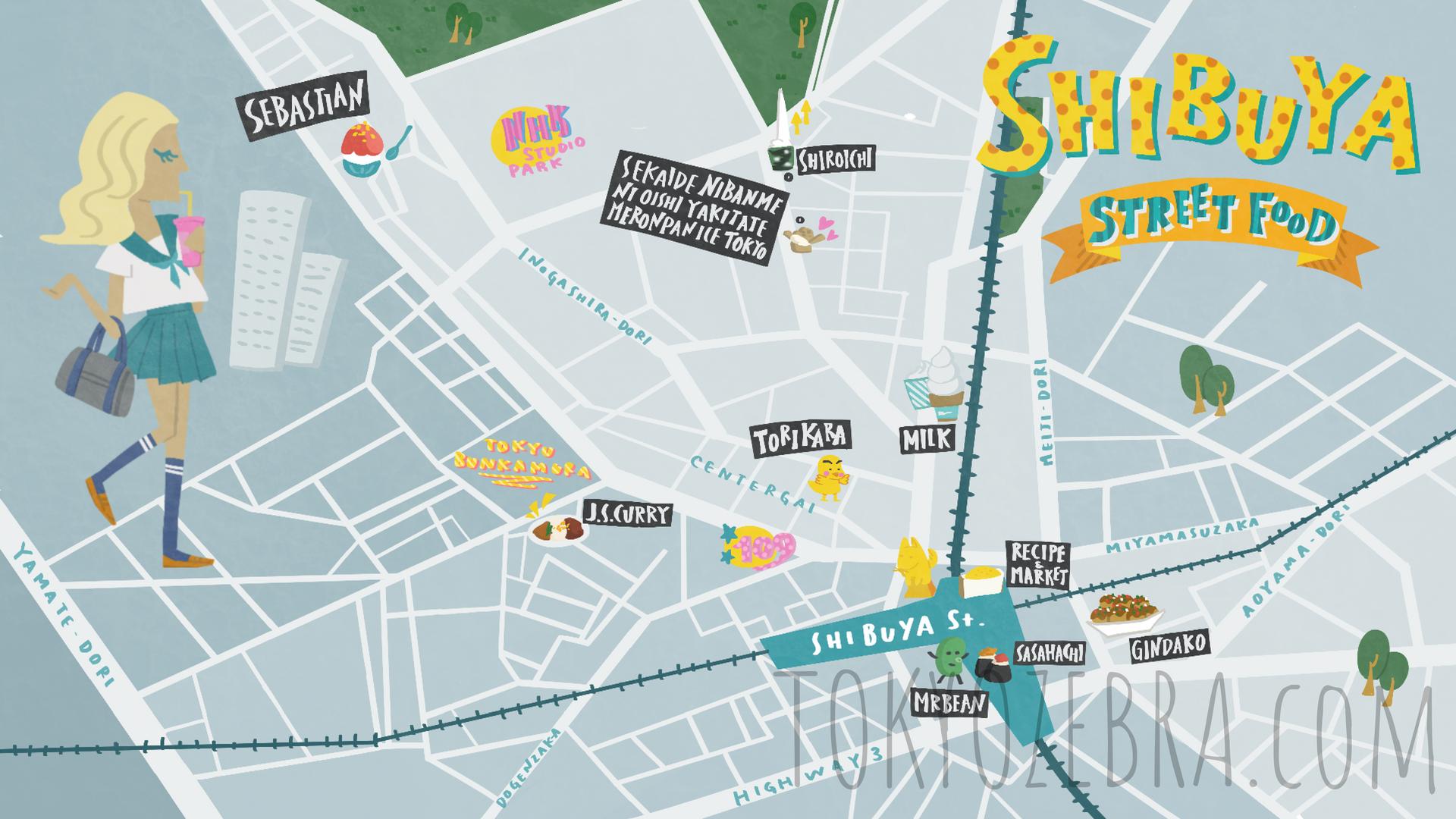 Shibuya Street Food Map -
