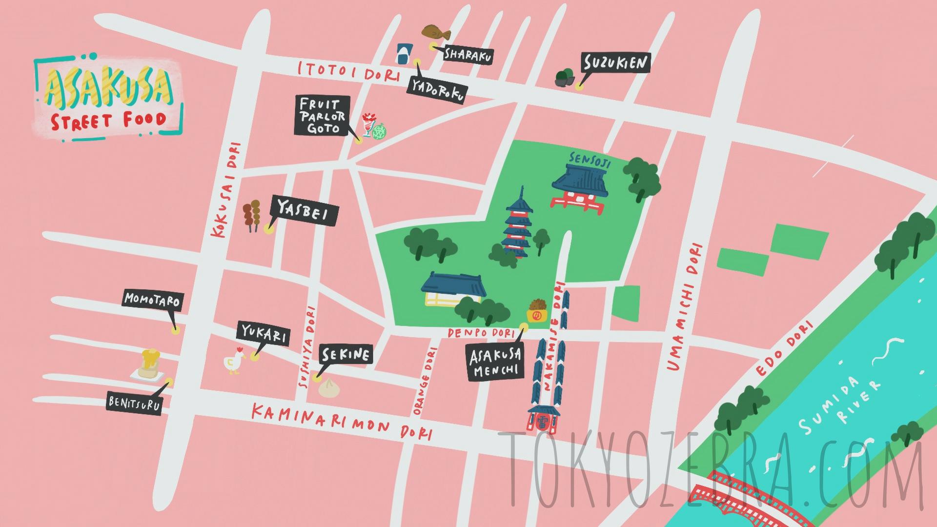 ASAKUSA STREET FOOD MAP -