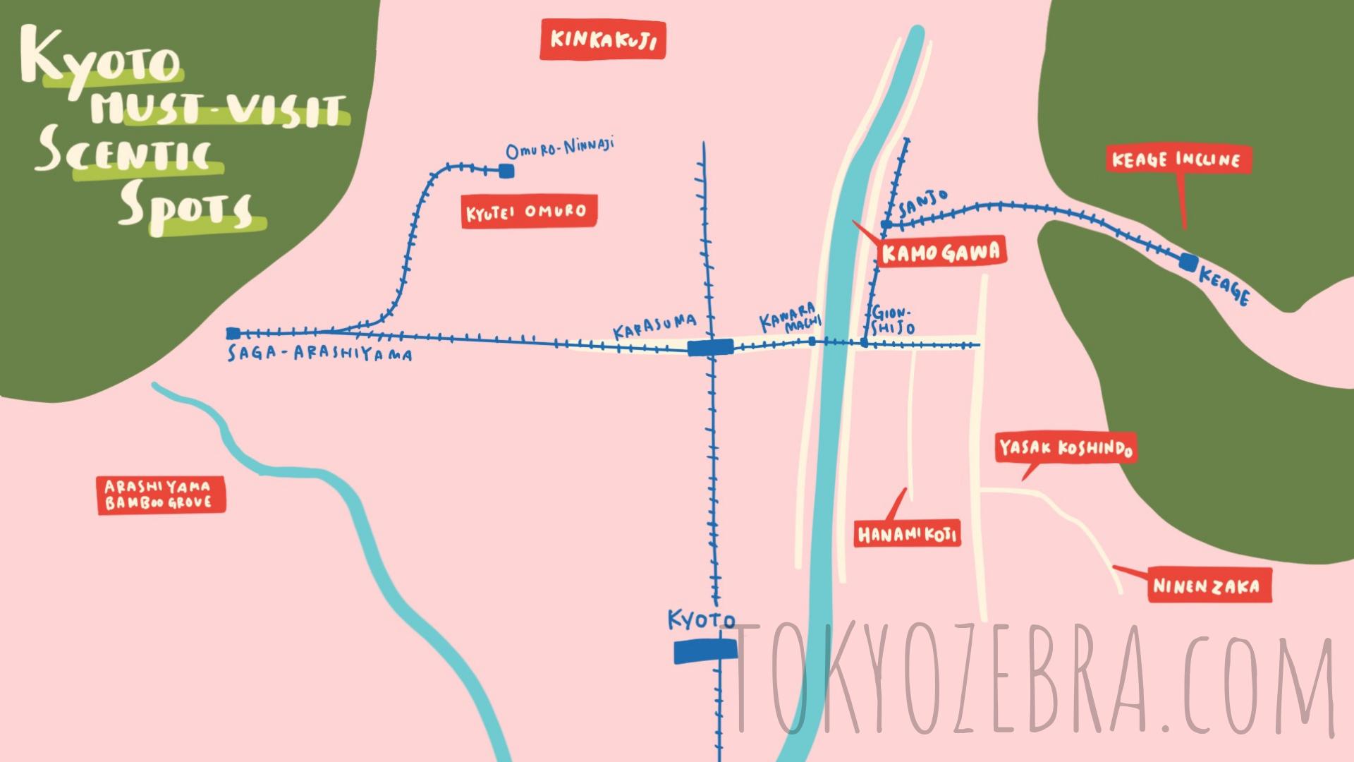 Kyoto Scenic Map -