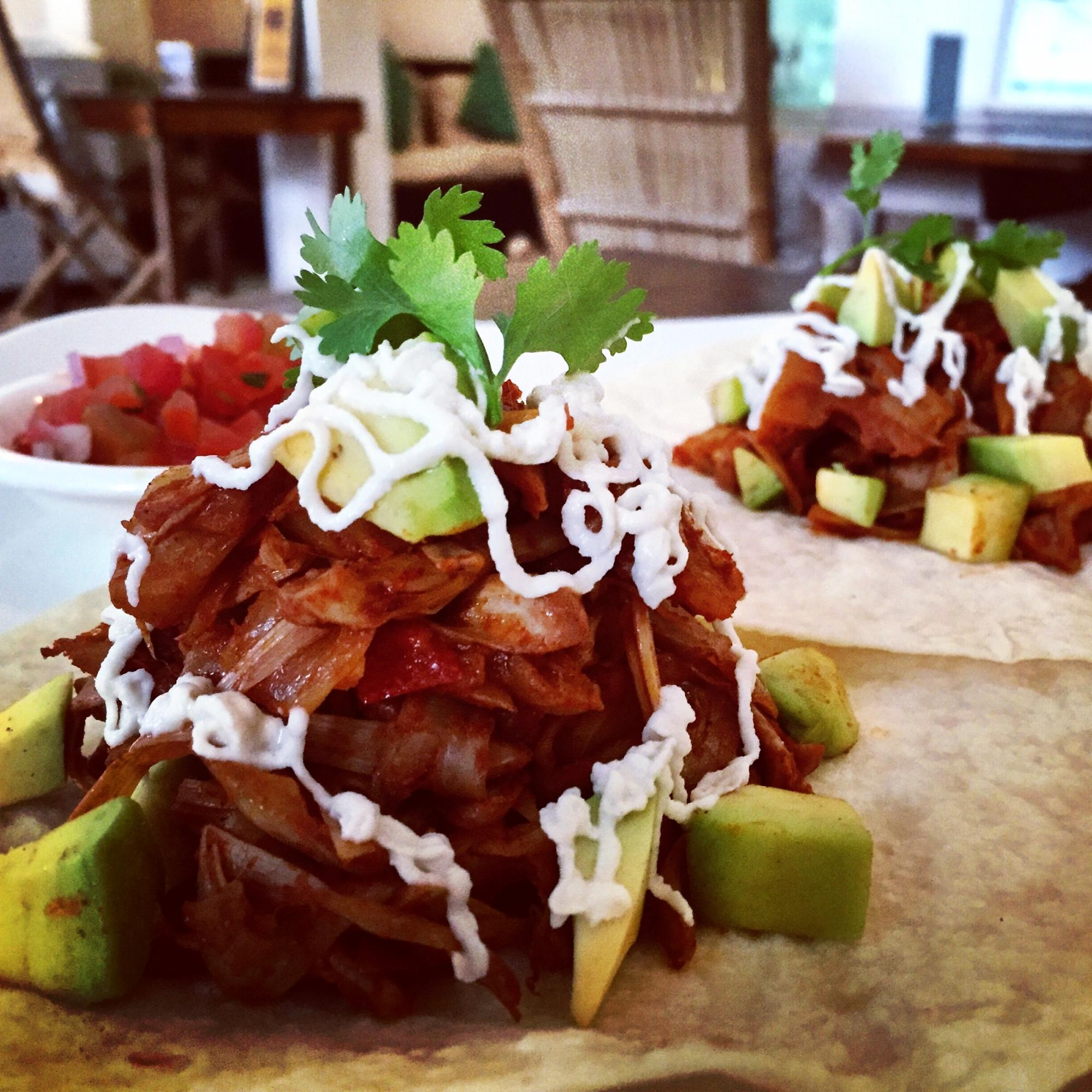 Vegan tacos at Backyard Cafe