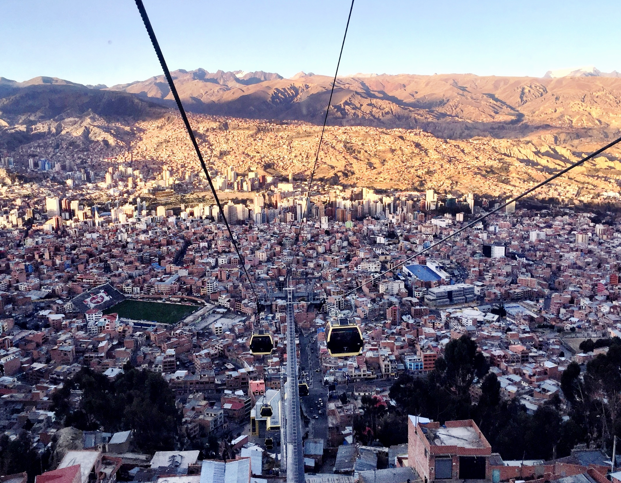 Cable car commute in La Paz